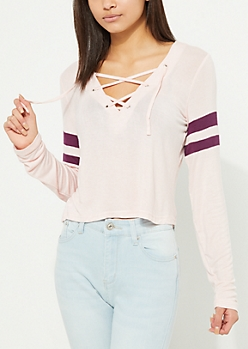 Light Pink Athletic Striped Lace Up Tee