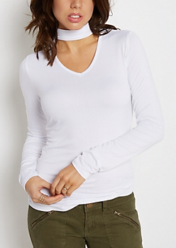 White Keyhole Soft Knit Shirt