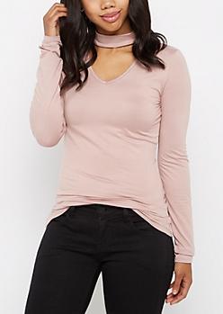 Lavender Keyhole Soft Knit Shirt