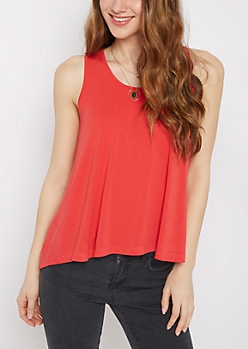 Red Pleated Back Tank Top