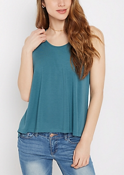 Teal Pleated Back Tank Top