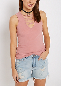 Pink Lattice Ribbed Tank Top