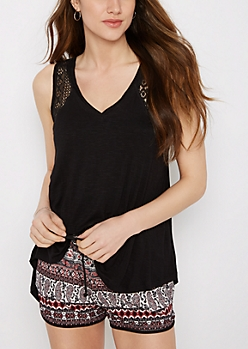 Black Crochet Inset High-Low Swing Tank