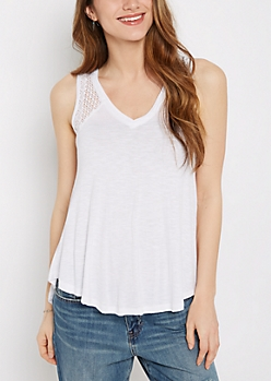 White Crochet Inset High-Low Swing Tank