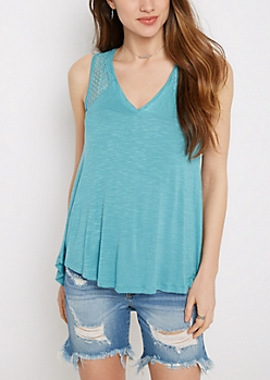 Turquoise Crochet Inset High-Low Swing Tank