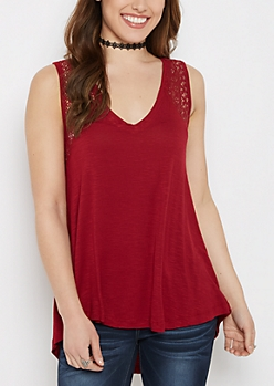 Burgundy Crochet Inset High-Low Swing Tank