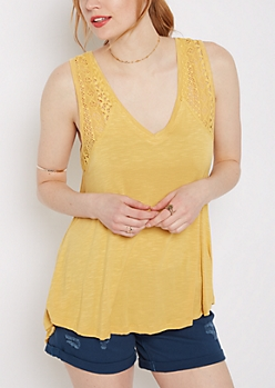 Mustard Crochet Inset High-Low Swing Tank
