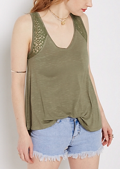Olive Crochet Inset High-Low Swing Tank