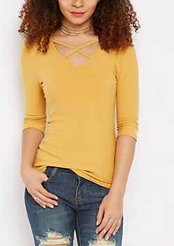 Mustard Caged V-Neck Top