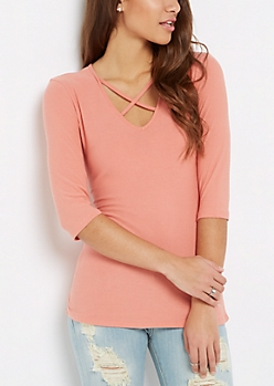 Peach Caged V-Neck Top
