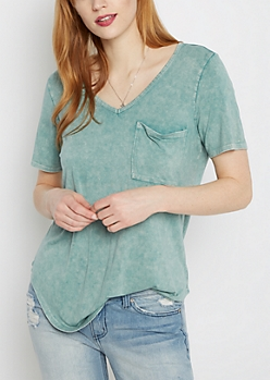 Mint Vintage Washed V-Neck Tee