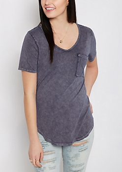 Navy Vintage Washed V-Neck Tee