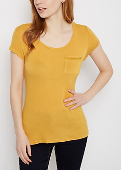 Mustard Crochet Ladder Tee
