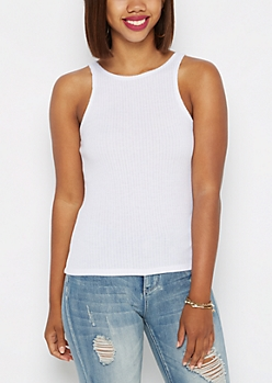 White Ribbed High Neck Essential Tank Top