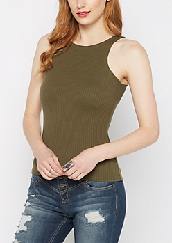 Olive Ribbed High Neck Essential Tank Top