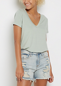 Mint V Neck Rounded Tee
