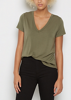Olive V Neck Rounded Tee
