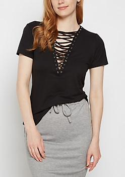 Black Soft Brushed Lace Up Tee