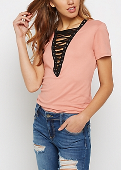 Pink Soft Brushed Lace Up Tee