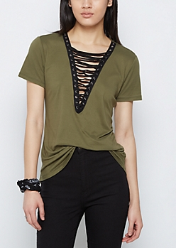 Olive Soft Brushed Lace Up Tee