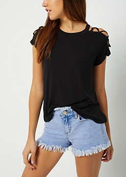 Black Lattice Sleeve Tee