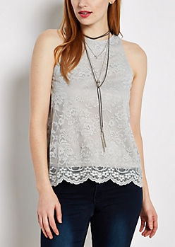 Gray Floral Lace Tank Top