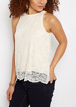 Ivory Floral Lace Tank Top