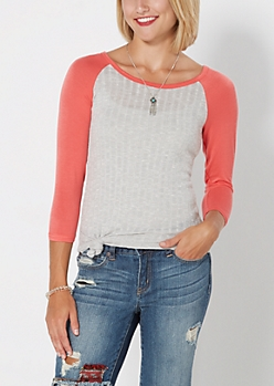Pink & Gray Ribbed Raglan Top