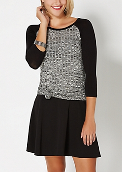 Black & Gray Ribbed Raglan Top