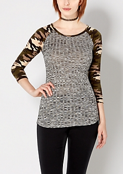 Camo Marled Ribbed Raglan Top