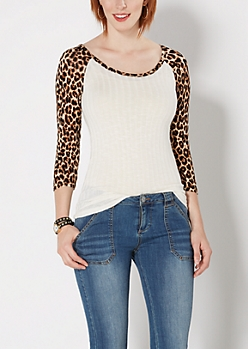 Ivory Cheetah Ribbed Raglan Top