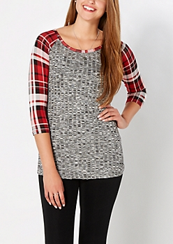 Red Plaid Ribbed Raglan Top