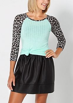 Mint & Gray Cheetah Ribbed Raglan Top
