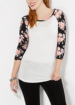 Rose Ribbed Raglan Top