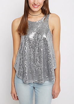 Silver Sequined Party Tank Top