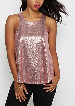 Lavender Sequined Party Tank Top