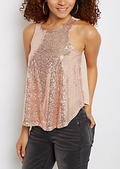 Pink Sequined Party Tank Top