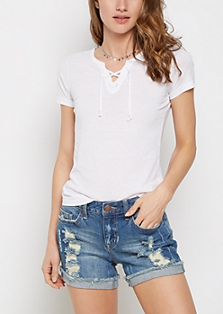 White Lace-Up Burnout Tee