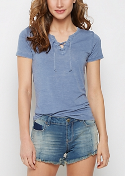 Light Blue Washed Lace-Up Burnout Tee