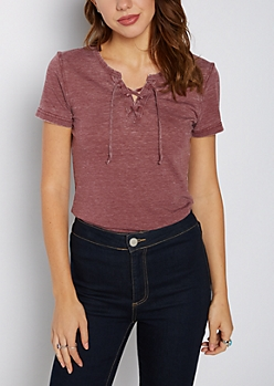 Burgundy Washed Lace-Up Burnout Tee
