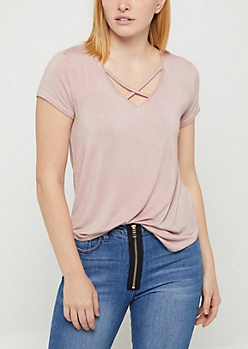 Pink Washed Cross Strap Tee