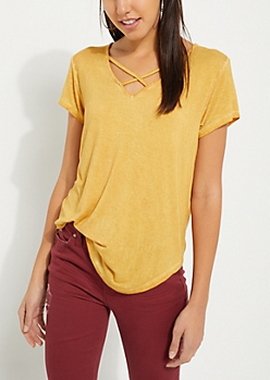 Mustard Washed Cross Strap Tee