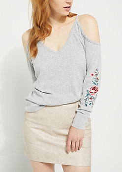 Gray Cold Shoulder Rose Embroidered Hacci Top