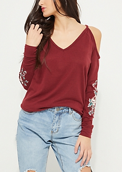 Burgundy Cold Shoulder Rose Embroidered Hacci Top