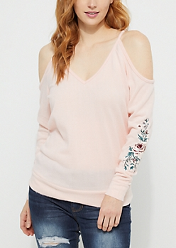Pink Cold Shoulder Embroidered Hacci Sweater