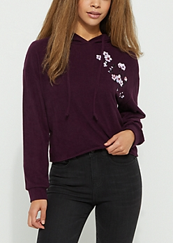Purple Embroidered Hacci Knit Crop Hoodie