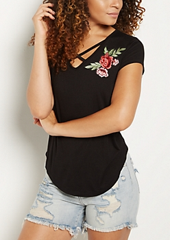 Black Rose Patch Cross Strap Tee