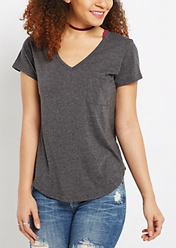 Black Heathered V-Neck Pocket Tee