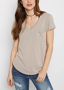Gray Heathered V-Neck Pocket Tee