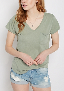 Light Green Heathered V-Neck Pocket Tee